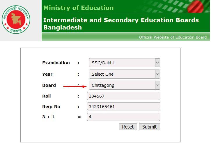 SSC Result Chittagong Board